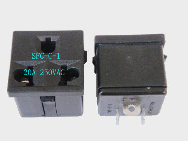 Black Brazil Square 3 Prong Power Socket Power Outlet AC Wall Receptacle 250VAC 20A