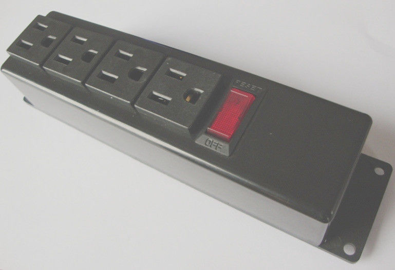 Metal Black PDU Power Distribution Unit 4 Way Multi Plug Socket With On Off  Switch